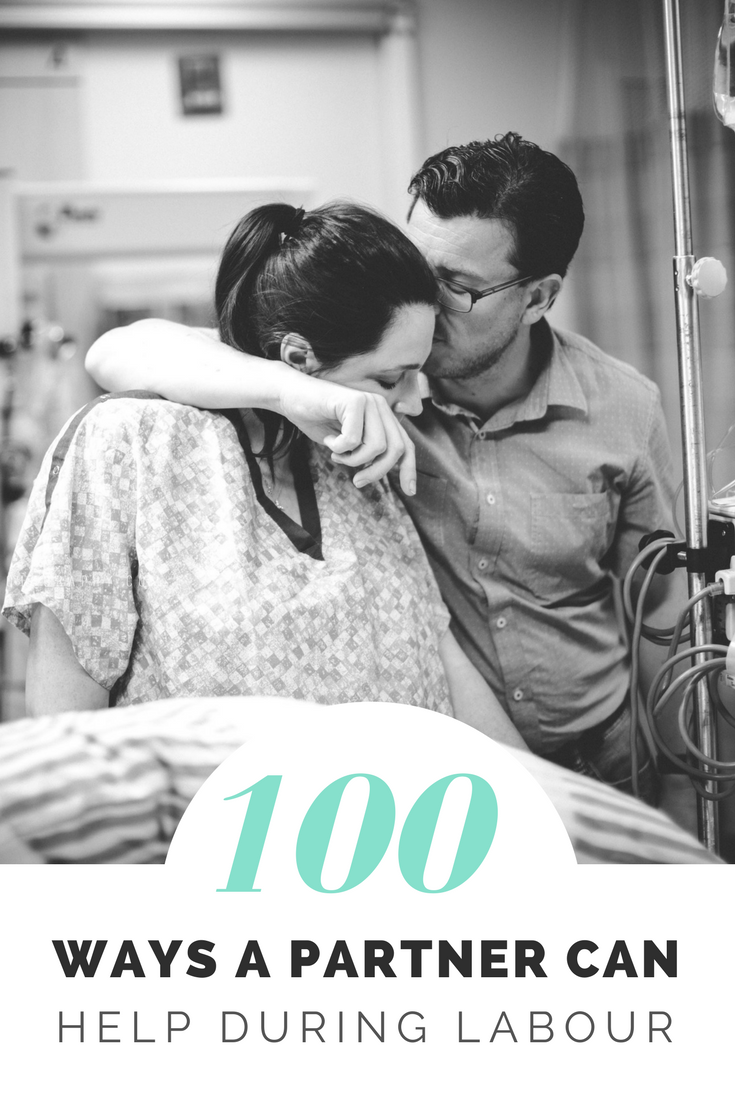 100 Ways A Partner Can Help in Labor | Picture of husband hugging his wife in labor in a hospital gown